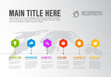 Vector Infographic Company Milestones Timeline Template. With hexagon pointers on a line and world map in the background Stock Photography