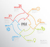 Vector Infographic cycle template made from lines and icons. Vector Infographic report template made from lines and icons with big cycle icon Stock Illustration