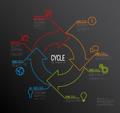 Vector Infographic cycle template made from lines and icons. Vector Infographic report template made from lines and icons with big cycle icon - dark version Stock Illustration
