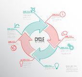 Vector Infographic cycle template. Vector Infographic report template made from lines and icons with big cycle icon Royalty Free Stock Image