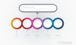 Vector Infographic 3d circle label template design.Infograph with 5 number options or steps. Infographic element for layout, process diagram, parts, chart stock illustration