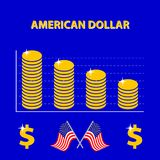 Vector infographic of decline US exchange rate - info graph. Vector colored infographic decline US exchange rate - info graph in flat design with icon of dollar stock illustration