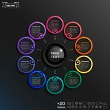 Vector infographic design with colorful circle. Vector infographic design with colorful circle on the black background. Business concept. 10 options, parts stock illustration