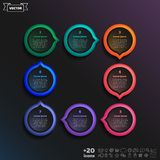 Vector infographic design with colorful circle. Vector infographic design with colorful circle on the black background. Business concept. 8 options, parts vector illustration