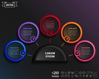 Vector infographic design with colorful circle. Vector infographic design with colorful circle on the black background. Business concept. 5 options, parts royalty free illustration