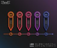 Vector infographic design with colorful circle. Timeline infographics design with colorful circle on the black background. Business concept. 5 options, parts royalty free illustration