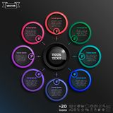 Vector infographic design with colorful circle. Vector infographic design with colorful circle on the black background. Business concept. 8 options, parts stock illustration