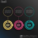 Vector infographic design with colorful circle. Vector infographic design with colorful circle on the black background. Business concept. 3 options, parts stock illustration