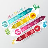 Vector Infographic Design. Colorful Infographics Business Timeline. With Years on Map royalty free illustration