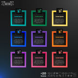 Vector infographic design with colorful squares on the black background. Business concept with 9 options, parts, steps. Can be used for graph, diagram, chart Stock Images