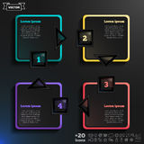 Vector infographic design with colorful squares on the black background. Royalty Free Stock Images