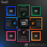 Vector infographic design with colorful squares on the black background. Royalty Free Stock Image