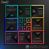 Vector infographic design with colorful squares on the black background. Royalty Free Stock Photos