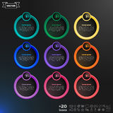 Vector infographic design list with colorful circles. Vector infographic design list with colorful circles on the black background. Business concept. 9 options Royalty Free Stock Images