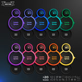 Vector infographic design list with colorful circles. Stock Image