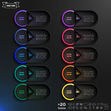 Vector infographic design list with colorful circles. Vector infographic design list with colorful circles on the black background. Business concept. 10 options Royalty Free Stock Photo