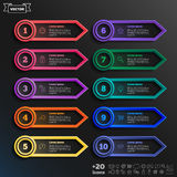 Vector infographic design list with colorful circles. Stock Photo