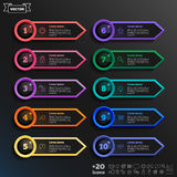 Vector infographic design list with colorful circles. Stock Images