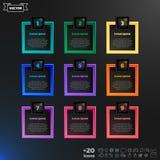 Vector infographic Design mit bunten Quadraten auf dem schwarzen Hintergrund Stockbilder