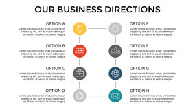 Vector infographic, diagram chart, graph presentation. Business template with options, parts, steps, processes. 16x9 Stock Photography