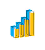 Vector infographic element with earnings growing graph, 3d illus Stock Image