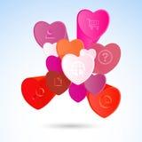 Vector infographic elementen met gekleurde harten St Valentine Royalty-vrije Stock Afbeeldingen