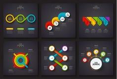 Vector infographic elementen op donkere achtergrond Stock Afbeelding