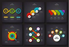 Vector infographic elements on dark background. Stock Image
