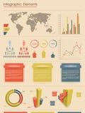 Vector infographic elements. Retro style Stock Photo
