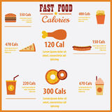 Vector infographic fast food calories. Stock Photography