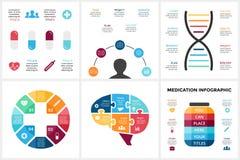 Vector infographic geneeskunde Malplaatje voor menselijk hersenendiagram, gezondheidszorggrafiek, geneeskunde artsenpresentatie,  Stock Fotografie
