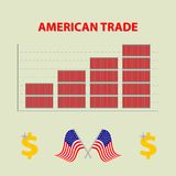 Vector infographic growing american import export - info graph in flat design with icon of dolar and flags united states o Stock Images