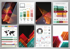 Vector infographic icons and abstract polygonal backgrounds Stock Images