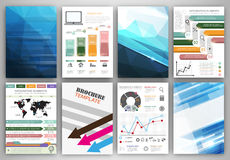 Vector infographic icons and blue backgrounds Royalty Free Stock Photos