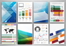 Vector infographic icons and blue polygonal backgrounds Royalty Free Stock Image