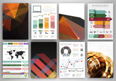 Vector infographic icons and dark polygonal backgrounds Stock Images