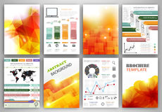 Vector infographic icons and orange backgrounds Royalty Free Stock Images