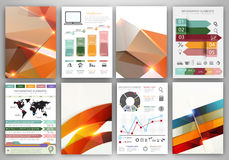 Vector infographic icons and orange polygonal backgrounds Stock Images