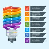 Vector infographic illustration 14. Colorful abstract lamp business infographics. Modern design concept with 7 steps. Business template for process visualization Royalty Free Stock Image