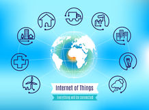 Vector : Infographic about Internet of Things with globe on blue. Abstract background, Technology concept Stock Image