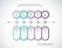 Vector Infographic label design with icons and 5 options or steps. Royalty Free Stock Photos