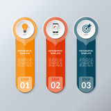 Vector infographic layout template with 3 buttons, steps, parts, options Stock Images