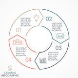 Vector infographic linear das setas do círculo, diagrama, gráfico, apresentação, carta Conceito do ciclo de negócio com 4 opções ilustração do vetor