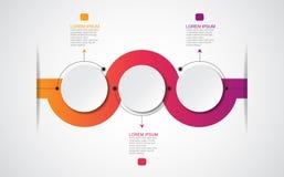 Vector infographic malplaatje met 3D document etiket, geïntegreerde cirkels Kan voor werkschemalay-out, diagram, bedrijfsstapopti Stock Foto's