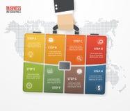 Vector infographic mit dem Geschäftsmann, der Tasche, Aktenkoffer hält lizenzfreie abbildung