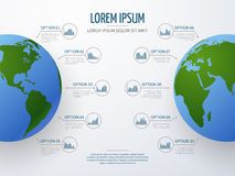Vector infographic mockup with globe and diagrams Stock Images