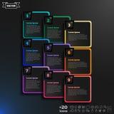 Vector infographic ontwerp met kleurrijke vierkanten op de zwarte achtergrond Royalty-vrije Stock Afbeeldingen