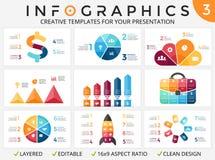 Vector infographic pijlen, cyclusdiagram, vooruitgangsgrafiek, presentatiecirkeldiagram Bedrijfsmalplaatje met 3, 4, 5, 6, 7 Stock Foto