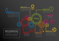 Vector Infographic report template with gear wheels. Vector Infographic report template made from lines and icons with gear wheels - dark version Royalty Free Stock Image