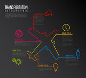 Vector Infographic report template made from lines and icons. Vector Infographic transport report template made from lines and icons with airplane - dark version Stock Photo